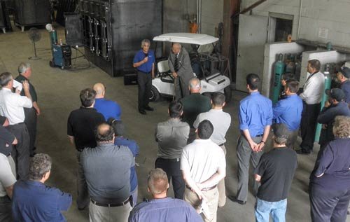 U.S. Congressman John Dingell speaking to Monroe Environmental employees