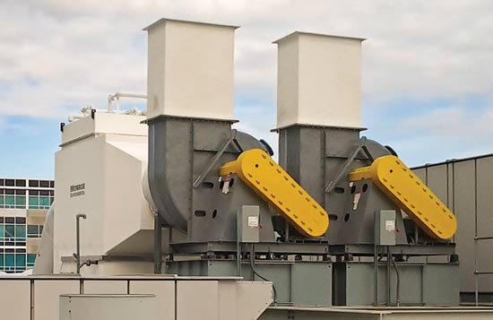 Dual-train exhaust ductwork with automated dampers and FRP fans