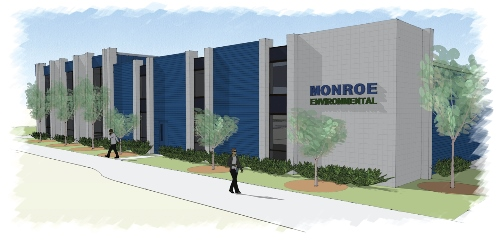 Rendering of Monroe Environmental building renovations-side view