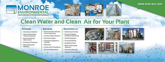 Display banner for Monroe Environmental IMTS Booth NC-650