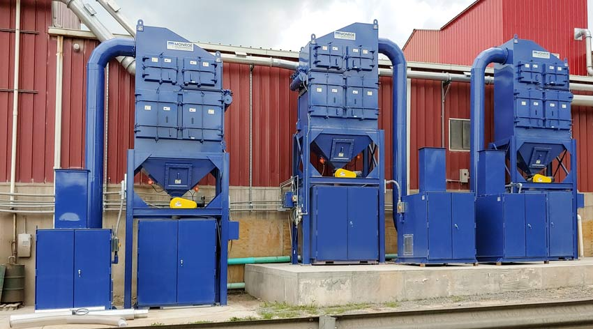 High efficiency Cartridge Dust Collectors for brick and terra cotta manufacturing facility to exhaust mills and protect employees from exposure to crystalline silica dust
