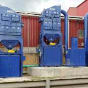 3 cartridge dust collectors to capture crystalline silica dust at a brick and terra cotta manufacturer