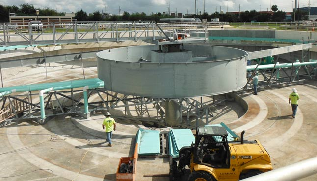 Installation of a 120 ft. Secondary Clarifier with Riser Pipes