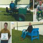 Ida High School welding program students with their projects