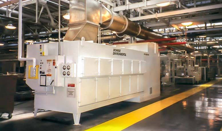 18,000 CFM Spiral Tube Mist Collector at an automotive engine assembly plant
