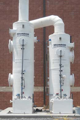 Two-stage Fume Scrubber to remove acids and alkalines from dryer exhaust gas.