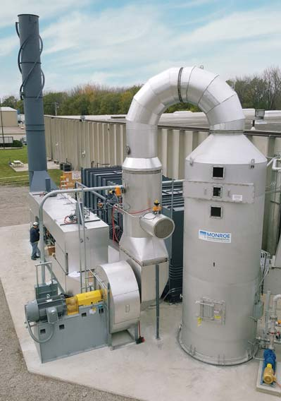 Venturi Scrubber and Cyclonic Separator to remove particulate from a dryer prior to VOC destruction with a regenerative thermal oxidizer