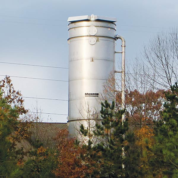 50 ft. x 13 ft. diameter stainless steel Air Stripping Tower for VOC removal at a potable water treatment plant