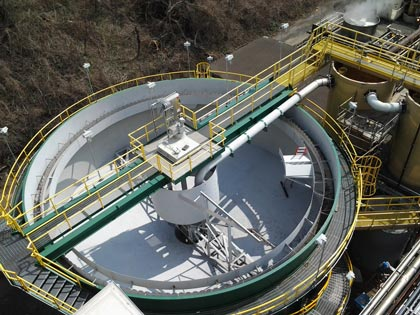Above ground Circular Clarifier on legs for wastewater treatment at a steel mill