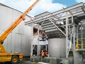 Lamella Plate Vertical Clarifier for an automotive plant's wastewater treatment system.