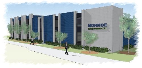 Rendering of Monroe Environmental building renovations-side view