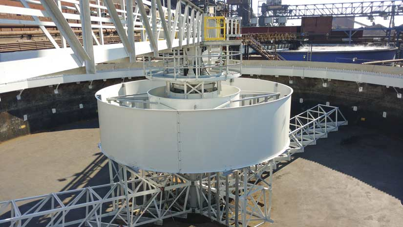 100 ft. diameter high-torque Thickener Clarifier treating blast furnace scrubber blowdown