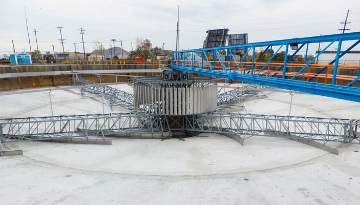 250 ft. diameter spiral scraper type Circular Clarifier at a municipal WWTP