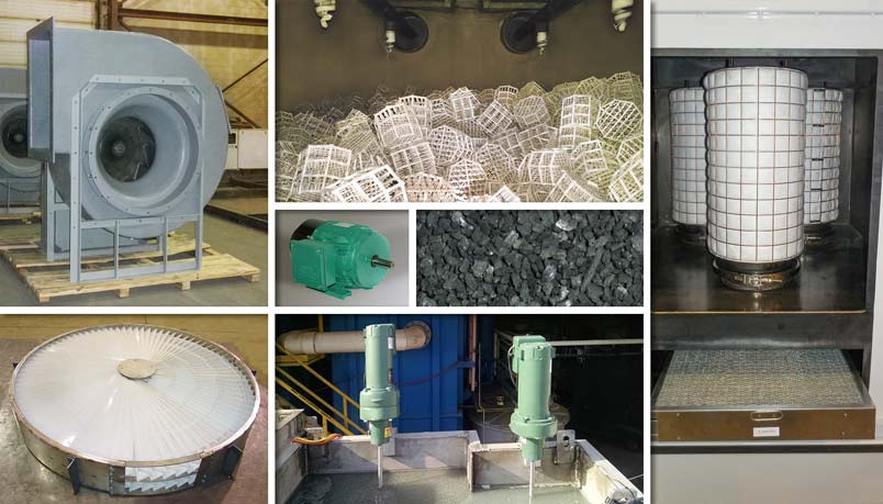 Various replacement parts for air pollution control and water/wastewater treatment equipment
