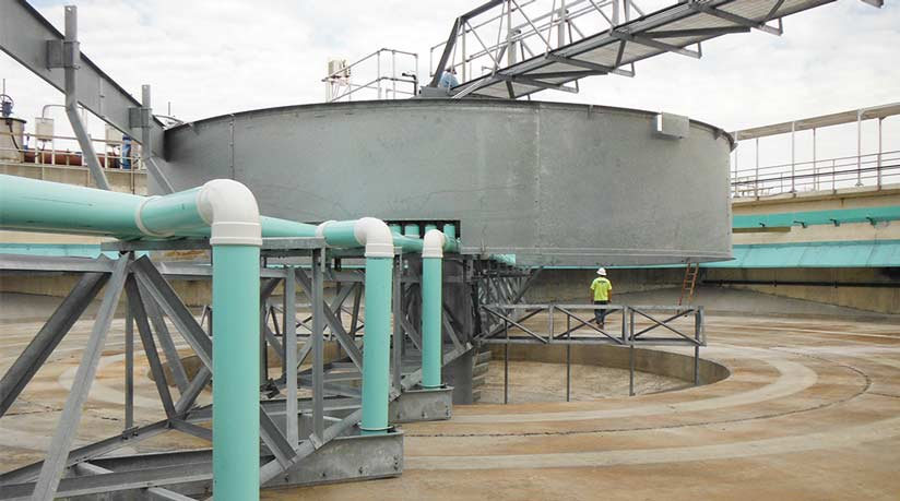 Installation of a rebuilt 120 ft. Secondary Circular Clarifier with riser pipes
