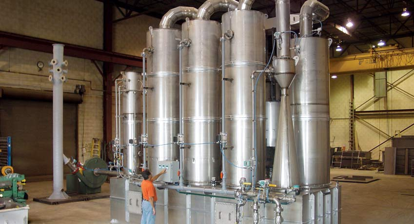 Stainless steel Multi-Stage Scrubbing System with Packed Bed Scrubbers, Venturi, Quench, & Carbon Adsorber to treat exhaust from a toxic gas incineration process