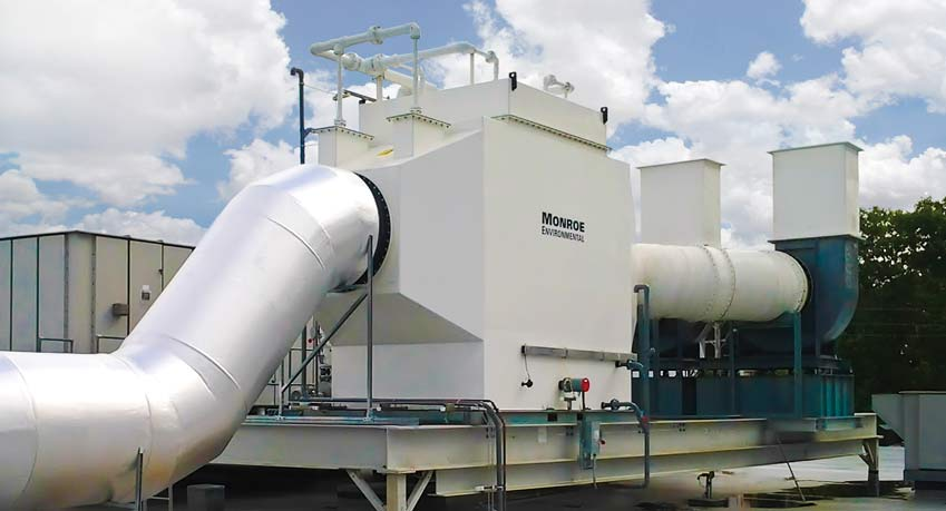30,000 CFM Horizontal chemical fume scrubber with polypropylene construction to remove chemical fumes emitted from acid-dip tanks at a semiconductor manufacturing facility.