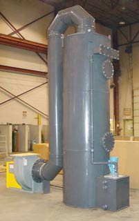 3,500 CFM Packed Tower Scrubber, PVC Construction for HCl Removal