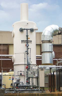 12,500 CFM Wet Scrubber for Cl2, HCL, & SO2 removal from RTO exhaust, FRP construction