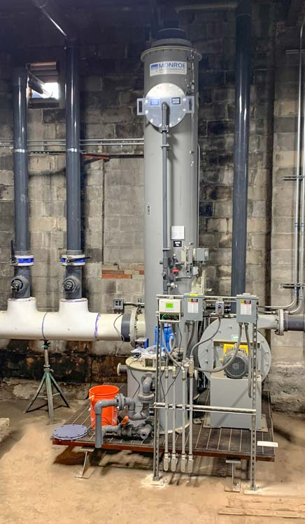 Scrubbing system to absorb H2S fumes and other odors from wastewater treatment process